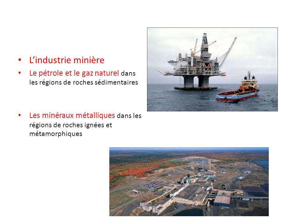 L'industrie minière Le pétrole et le gaz naturel dans les régions de roches sédimentaires.
