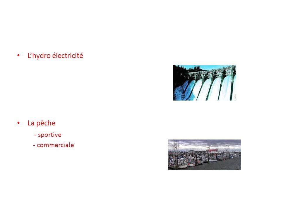 L'hydro électricité La pêche - sportive - commerciale