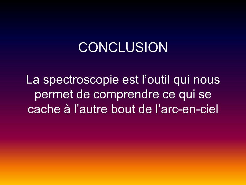 CONCLUSION La spectroscopie est l'outil qui nous permet de comprendre ce qui se cache à l'autre bout de l'arc-en-ciel