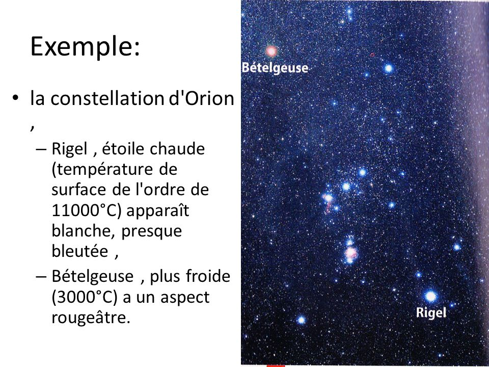 Exemple: la constellation d Orion ,