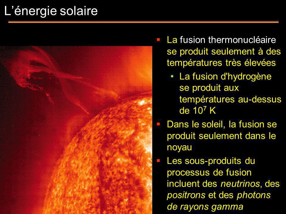L'énergie solaire La fusion thermonucléaire se produit seulement à des températures très élevées.