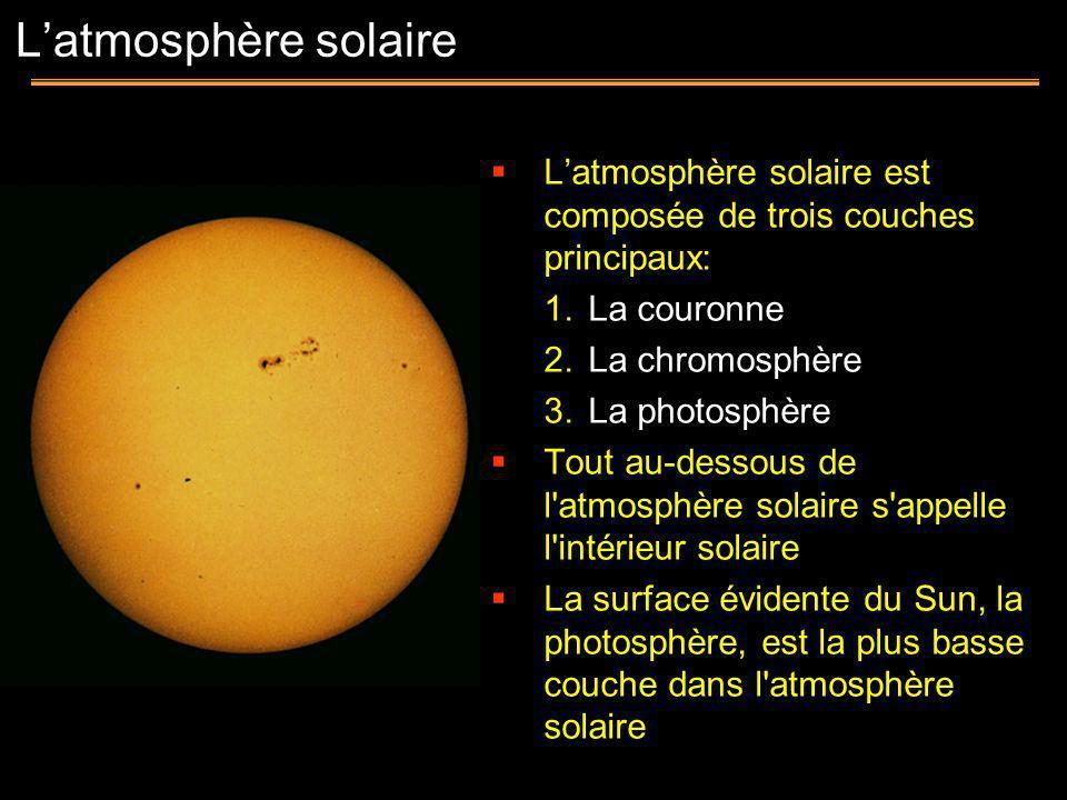 L'atmosphère solaire L'atmosphère solaire est composée de trois couches principaux: La couronne. La chromosphère.