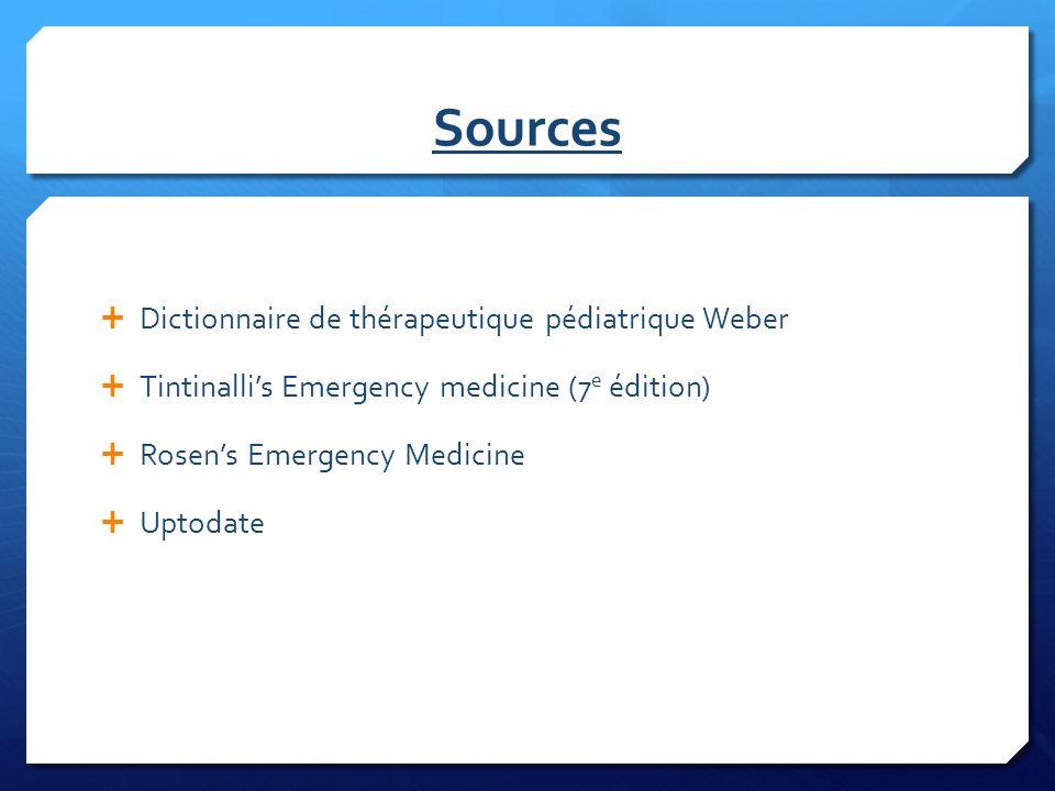 Sources Dictionnaire de thérapeutique pédiatrique Weber