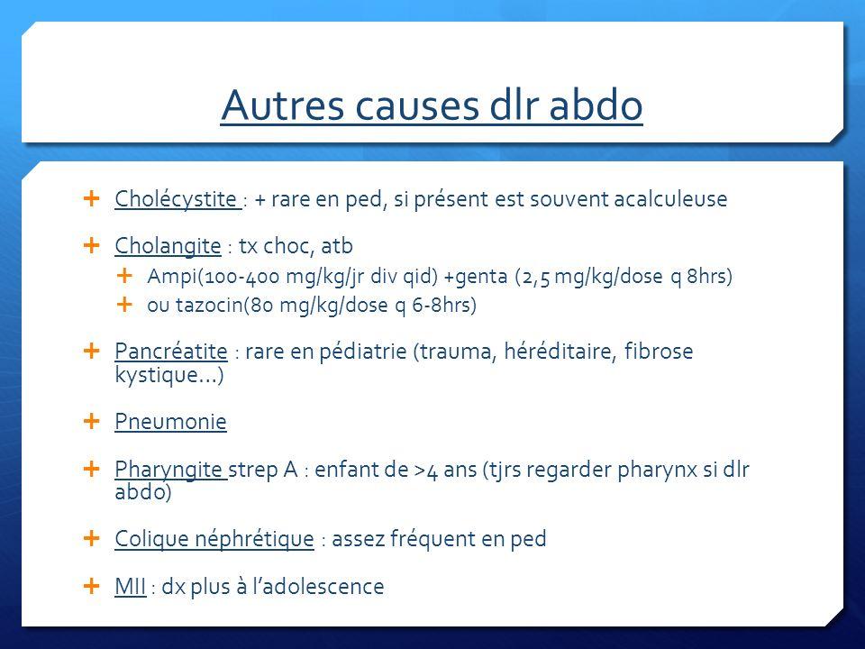 Autres causes dlr abdo Cholécystite : + rare en ped, si présent est souvent acalculeuse. Cholangite : tx choc, atb.