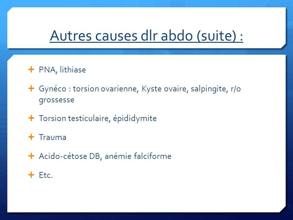 Autres causes dlr abdo (suite) :