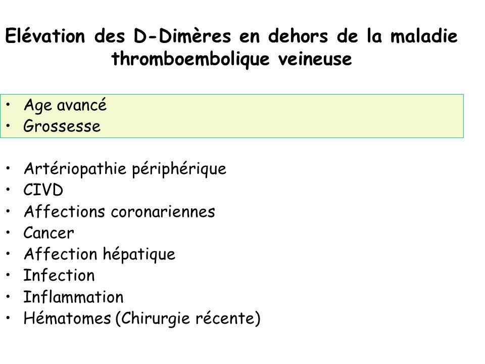 Elévation des D-Dimères en dehors de la maladie thromboembolique veineuse