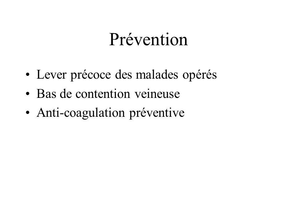 Prévention Lever précoce des malades opérés Bas de contention veineuse