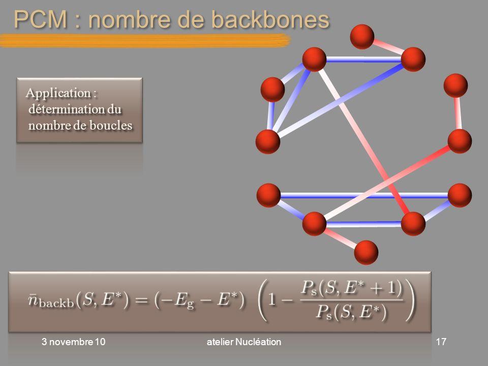 PCM : nombre de backbones