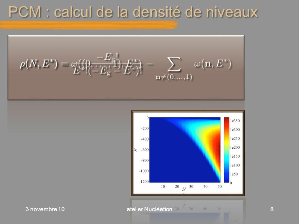PCM : calcul de la densité de niveaux