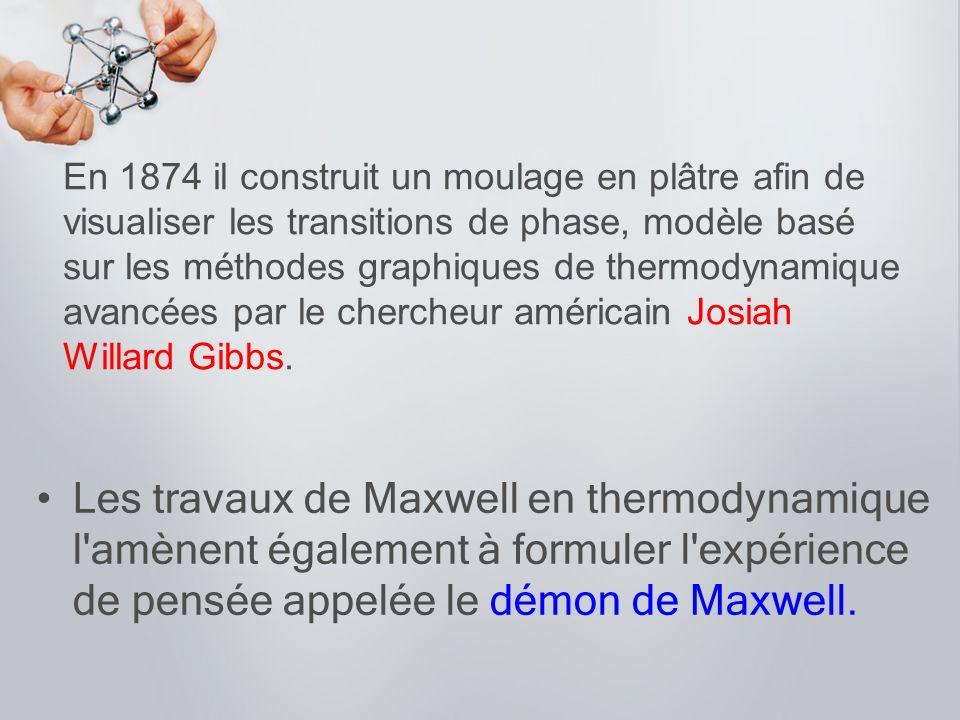 En 1874 il construit un moulage en plâtre afin de visualiser les transitions de phase, modèle basé sur les méthodes graphiques de thermodynamique avancées par le chercheur américain Josiah Willard Gibbs.