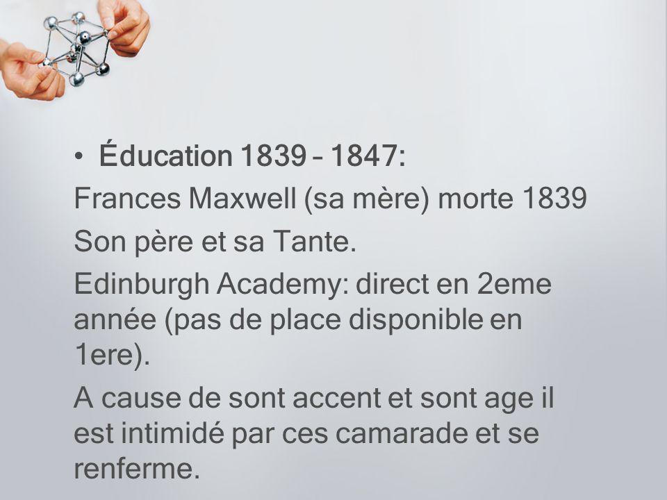 Éducation 1839 – 1847: Frances Maxwell (sa mère) morte 1839. Son père et sa Tante.