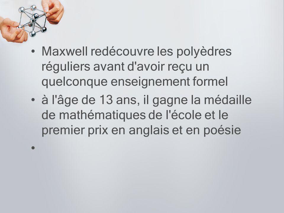 Maxwell redécouvre les polyèdres réguliers avant d avoir reçu un quelconque enseignement formel