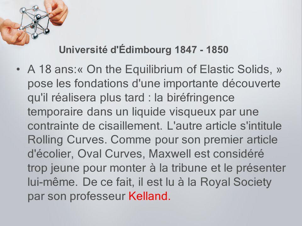 Université d Édimbourg 1847 - 1850