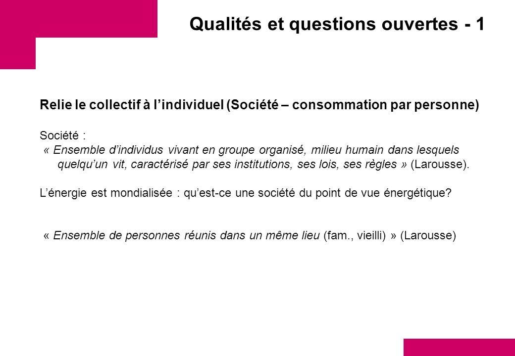 Qualités et questions ouvertes - 1