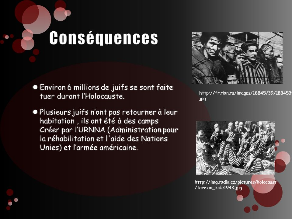 Conséquences Environ 6 millions de juifs se sont faite tuer durant l'Holocauste.