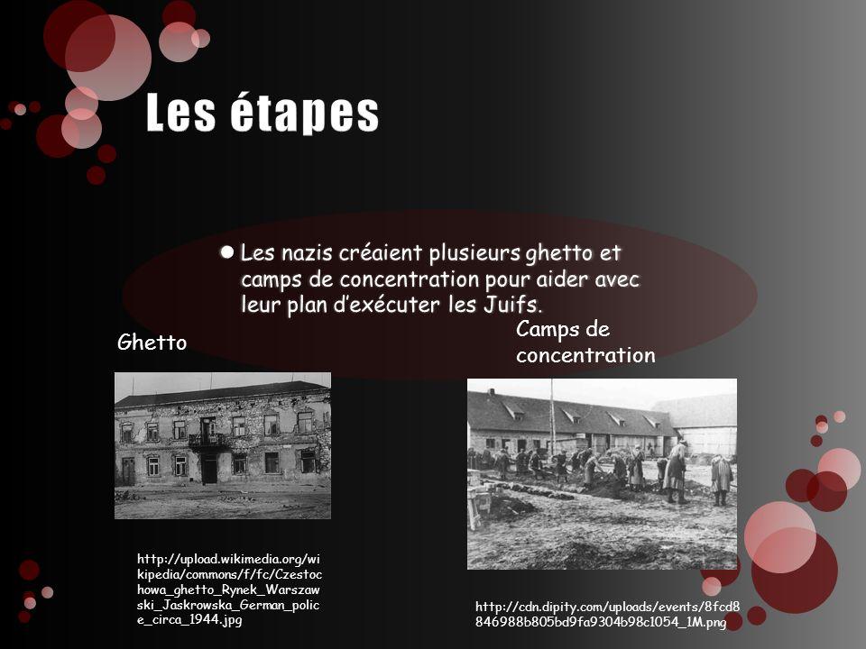 Les étapes Les nazis créaient plusieurs ghetto et camps de concentration pour aider avec leur plan d'exécuter les Juifs.