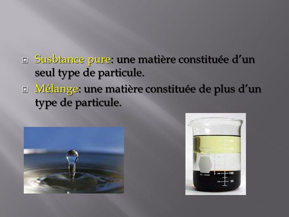 Susbtance pure: une matière constituée d'un seul type de particule.