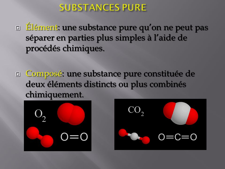 SUBSTANCES PURE Élément: une substance pure qu'on ne peut pas séparer en parties plus simples à l'aide de procédés chimiques.
