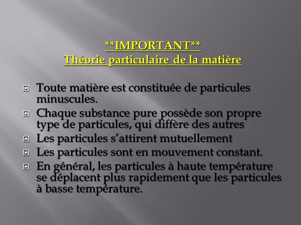 Théorie particulaire de la matière