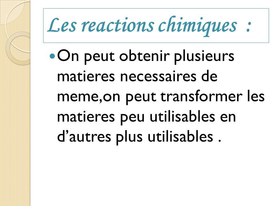 Les reactions chimiques :