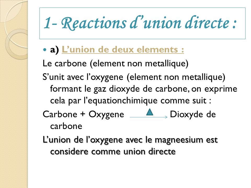 1- Reactions d'union directe :