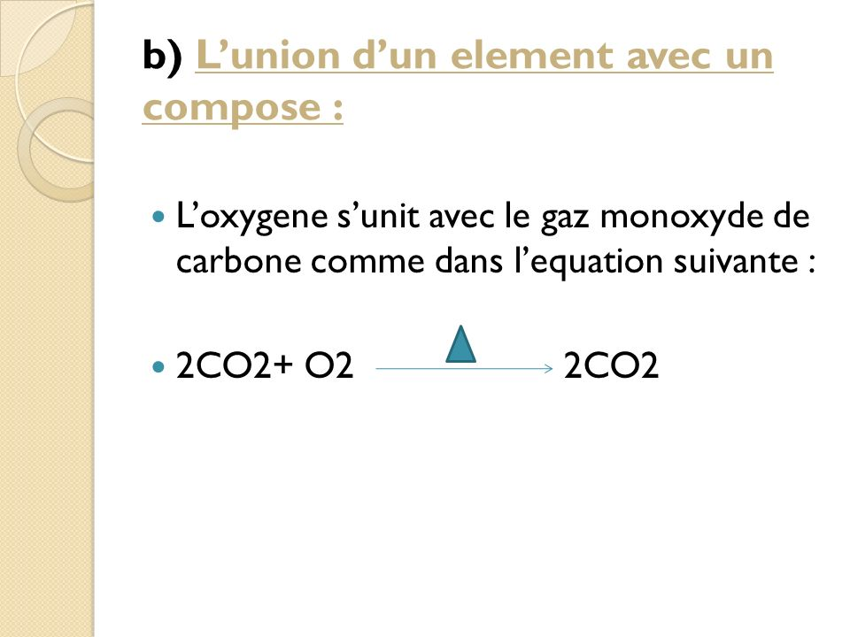 b) L'union d'un element avec un compose :