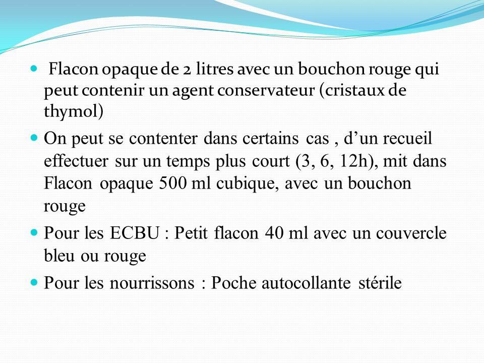 Pour les ECBU : Petit flacon 40 ml avec un couvercle bleu ou rouge