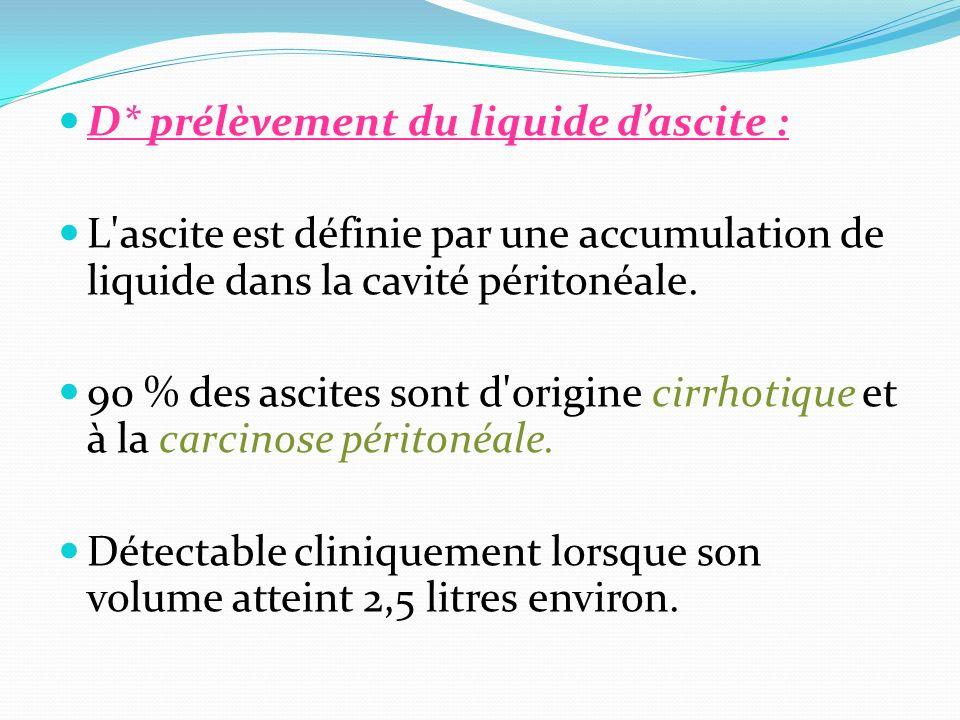 D* prélèvement du liquide d'ascite :