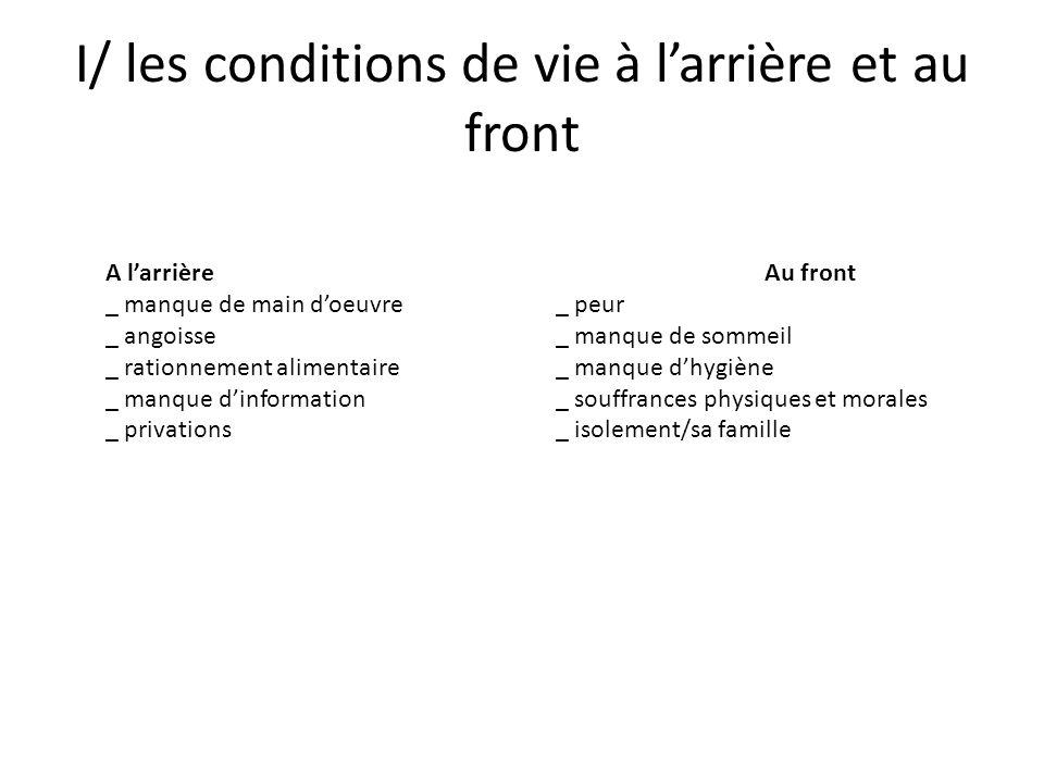 I/ les conditions de vie à l'arrière et au front
