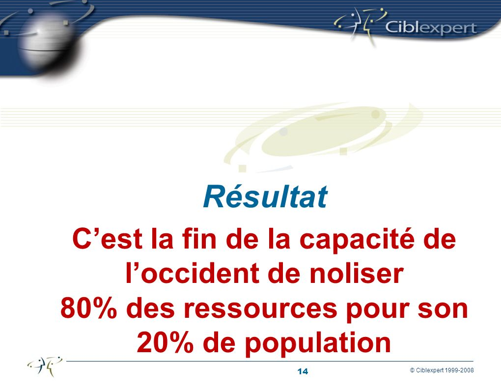 Résultat C'est la fin de la capacité de l'occident de noliser 80% des ressources pour son 20% de population.