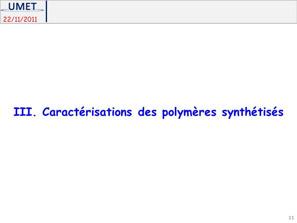 III. Caractérisations des polymères synthétisés