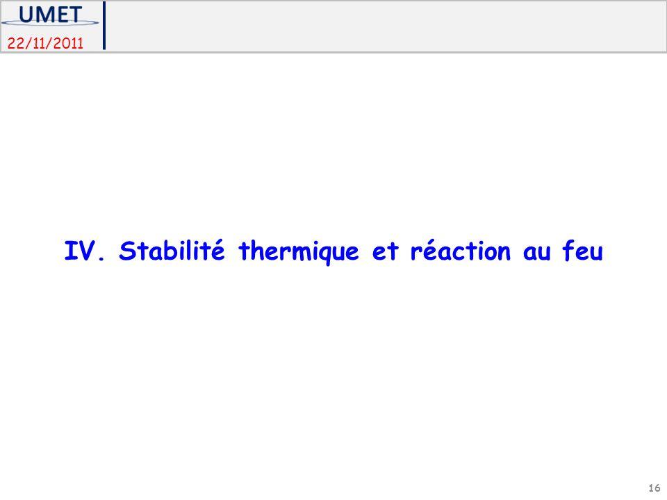 IV. Stabilité thermique et réaction au feu