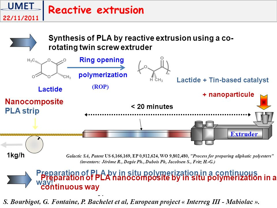 Reactive extrusion Synthesis of PLA by reactive extrusion using a co-rotating twin screw extruder. polymerization.