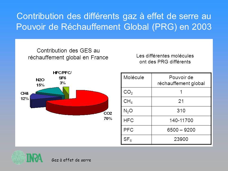 Contribution des différents gaz à effet de serre au Pouvoir de Réchauffement Global (PRG) en 2003