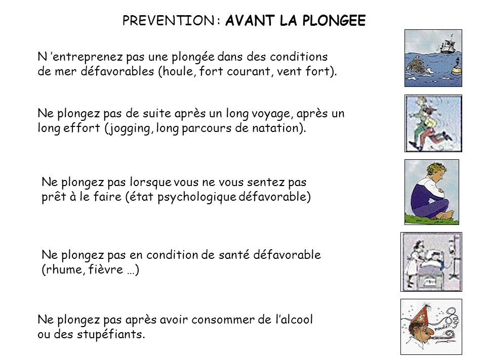 PREVENTION : AVANT LA PLONGEE