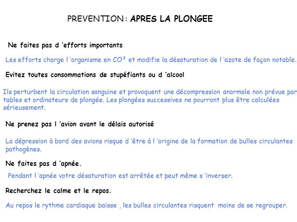 PREVENTION : APRES LA PLONGEE