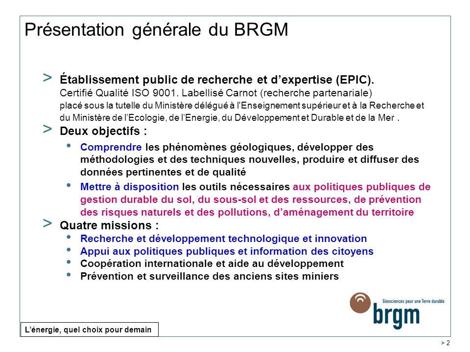 Présentation générale du BRGM