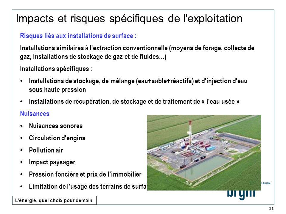 Impacts et risques spécifiques de l exploitation