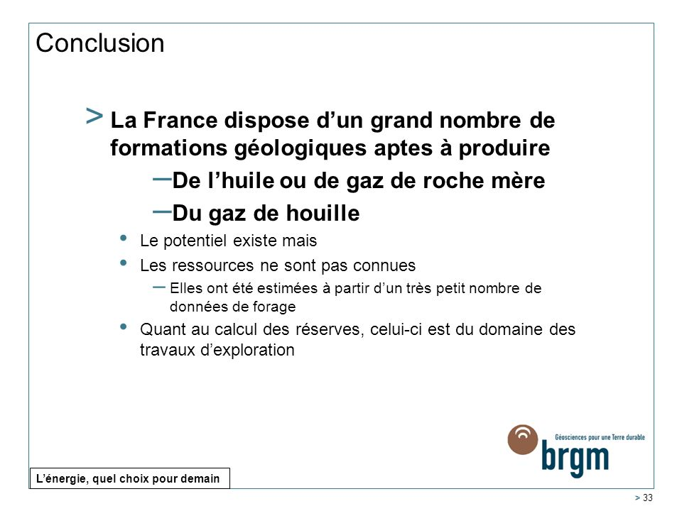 Conclusion La France dispose d'un grand nombre de formations géologiques aptes à produire. De l'huile ou de gaz de roche mère.
