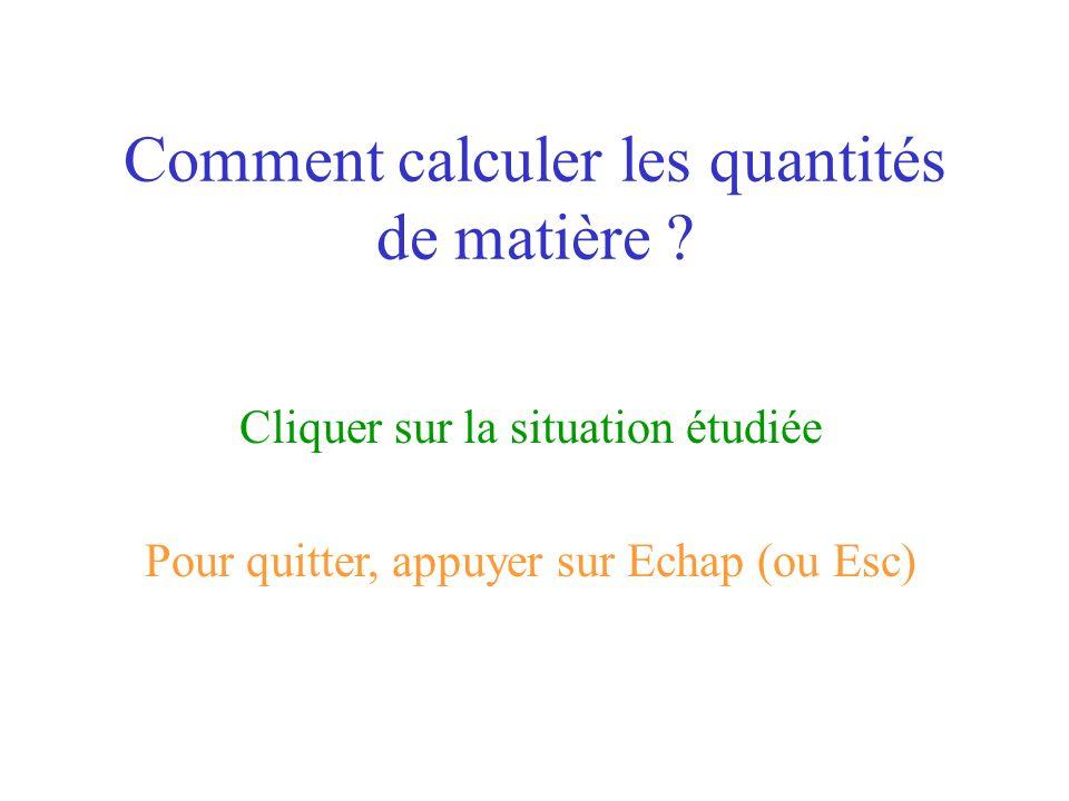Comment calculer les quantités de matière