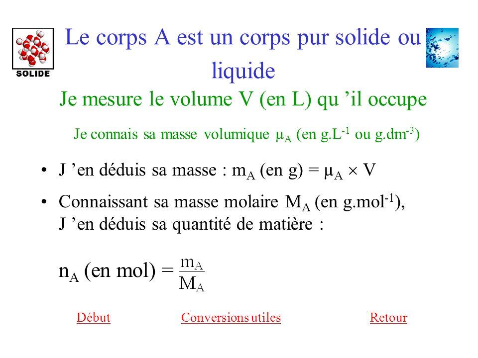 Le corps A est un corps pur solide ou liquide Je mesure le volume V (en L) qu 'il occupe Je connais sa masse volumique µA (en g.L-1 ou g.dm-3)