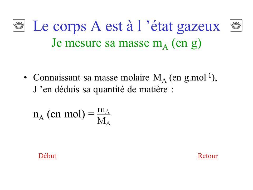Le corps A est à l 'état gazeux Je mesure sa masse mA (en g)