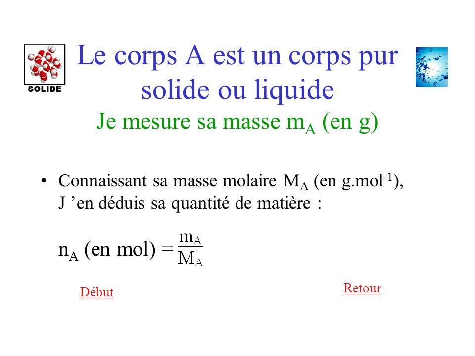 Le corps A est un corps pur solide ou liquide Je mesure sa masse mA (en g)
