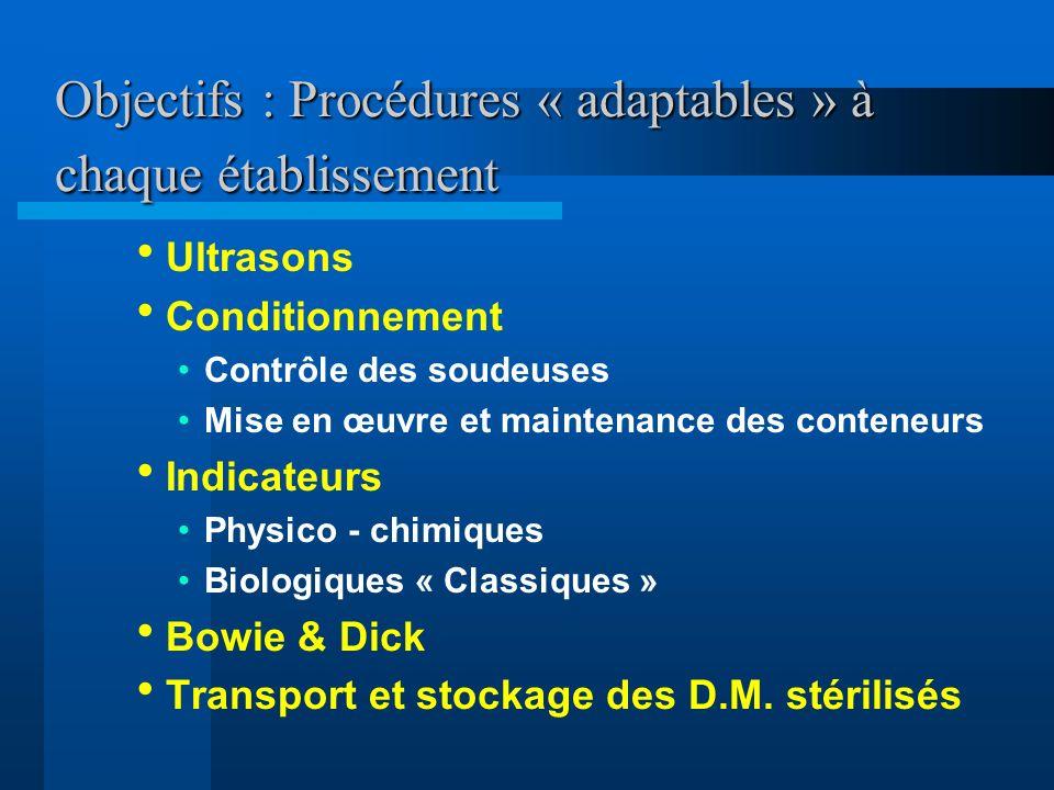 Objectifs : Procédures « adaptables » à chaque établissement