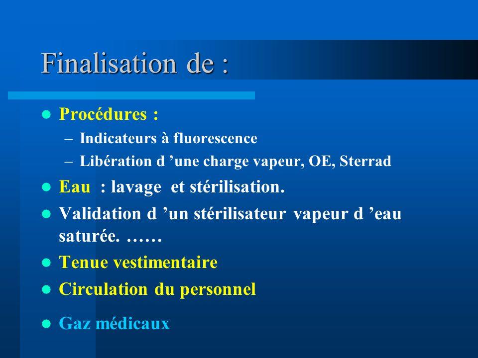 Finalisation de : Procédures : Eau : lavage et stérilisation.