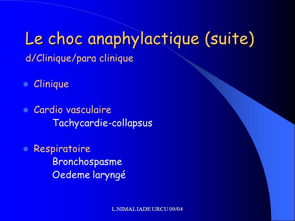 Le choc anaphylactique (suite)