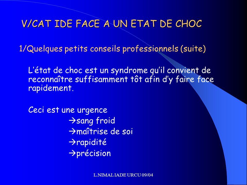 V/CAT IDE FACE A UN ETAT DE CHOC