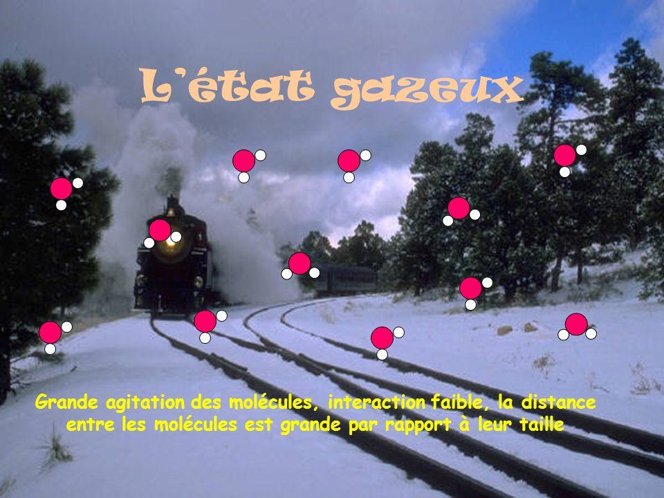 L'état gazeux Grande agitation des molécules, interaction faible, la distance entre les molécules est grande par rapport à leur taille.