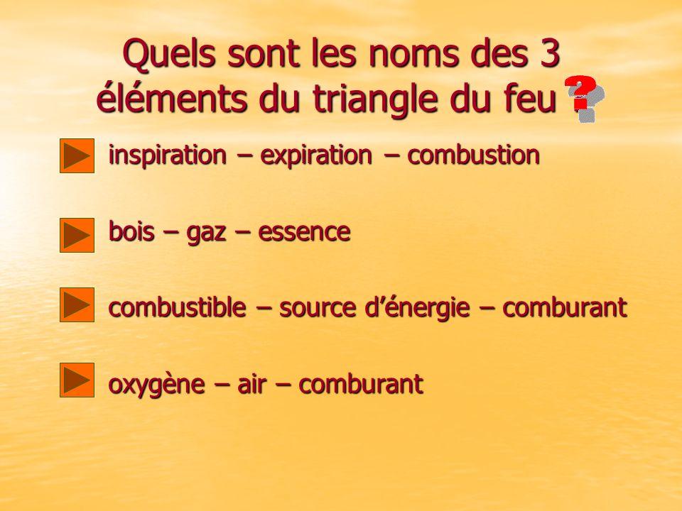 Quels sont les noms des 3 éléments du triangle du feu