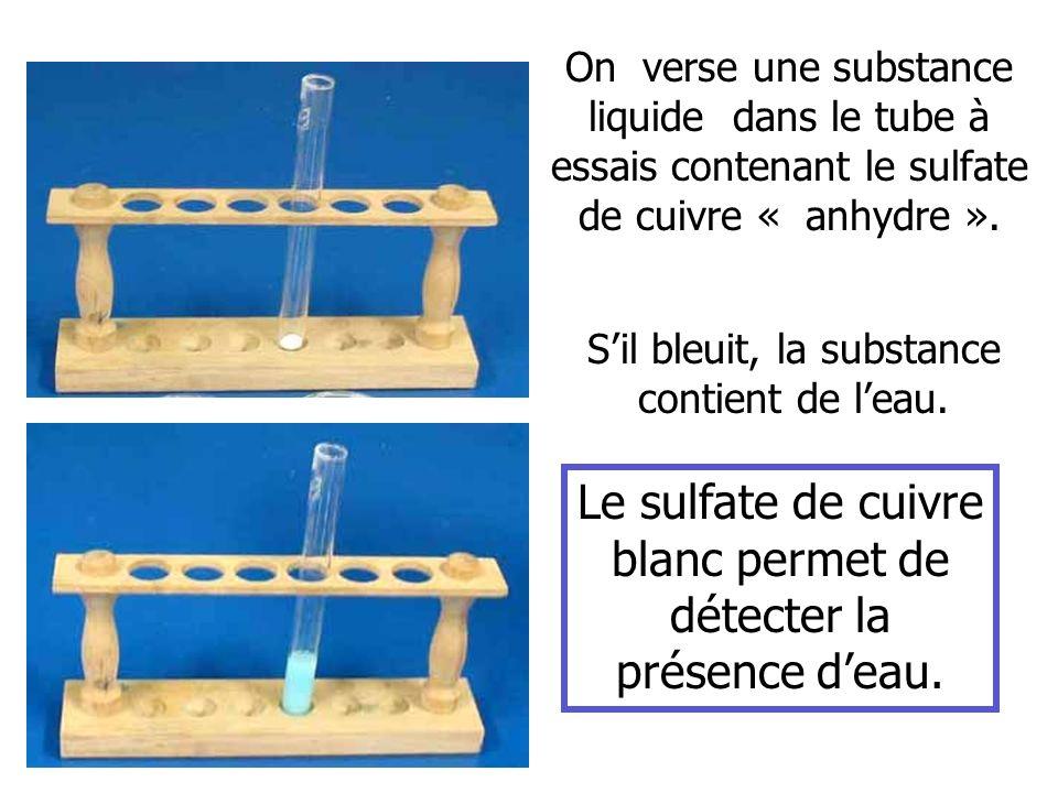 Le sulfate de cuivre blanc permet de détecter la présence d'eau.